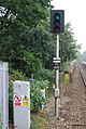 Green signal at the end of platform 1, High Brooms Station - geograph.org.uk - 1506451.jpg