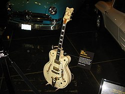 Gretsch White Falcon (1995), played by The Reverend Horton Heat, Petersen Auto Museum.jpg