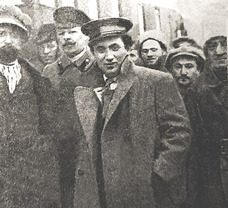 Grigory Zinoviev - Grigory Zinoviev, Chairman of the Petrograd Soviet, among the Political Commissars in 1918