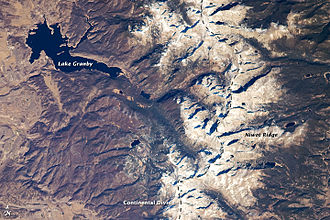 Continental Divide of the Americas - The Continental Divide in the Front Range of the Rocky Mountains of north central Colorado, taken from the International Space Station on October 28, 2008