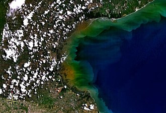 Gulf of Panama mangroves - Satellite view of Gulf of Parita, fringed by mangroves