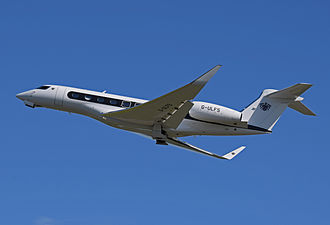 General Dynamics - In 1999 the company acquired Gulfstream Aerospace. Here, a Gulfstream G650 departs Bristol Airport, England in 2014.