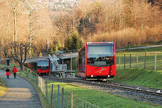 Gurten Funicular - The passing loop and intermediate station