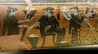 Gynaeceum - Detail from an epinetron showing women weaving in a gynaeceum, about 500 BC