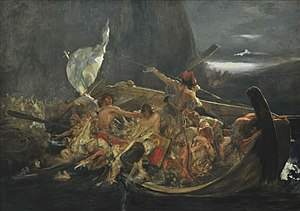Refugee - Greeks fleeing the Destruction of Psara in 1824 (painting by Nikolaos Gyzis).