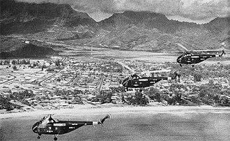 HMH-361 - HMR-361 HRS helicopters over Kaneohe Bay, Oahu, Hawaii, 1953
