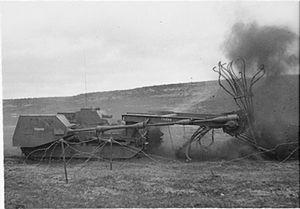 Mine flail - Turretless Matilda Baron under test - 13 August 1943.