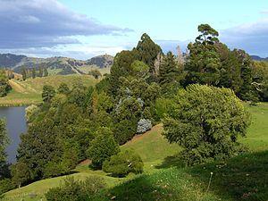 Hackfalls Arboretum - View of Hackfalls Arboretum with Lake Karangata