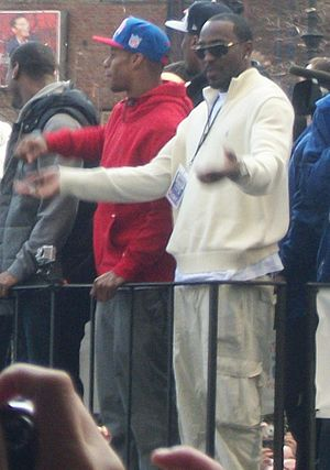 Hakeem Nicks - Nicks at the Giants' Super Bowl XLVI parade in 2012 with Victor Cruz.