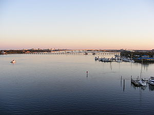 Halifax River - A view of the Halifax River southbound from the Seabreeze Bridge, Daytona Beach, Volusia County, Florida. Three other bridges can be seen from this vista: Main Street Bridge (closest), Broadway Bridge, and Veterans Memorial Bridge. Two boat marinas can be seen to the right.
