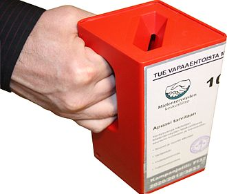 Fundraising - Door to door fundraising frequently involves a hand-held collection box