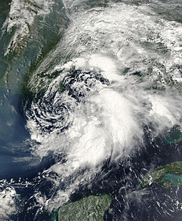 Satellite image of tropical storm.