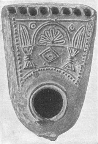 Hanukkah - Hanukkah lamp unearthed near Jerusalem about 1900