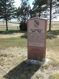 Historic marker on the western edge of Hardesty.