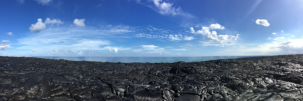 Panoramic view of the lava at the end of the Chain of Craters Road