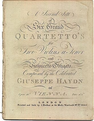 String Quartets, Op. 20 (Haydn) - 1782 edition of the opus 20 quartets, published by Preston in London