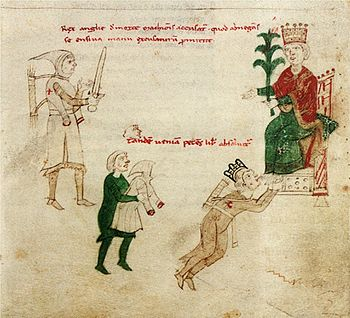 Richard the Lionheart kisses Henry VI's feet, from Liber ad honorem Augusti by Petrus de Ebulo, 1196