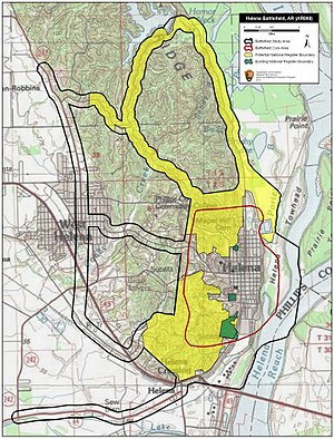 Battle of Helena - Map of Helena Battlefield core and study areas by the American Battlefield Protection Program.