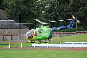 Scotland's Charity Air Ambulance - Helimed 76 on a Medevac mission.