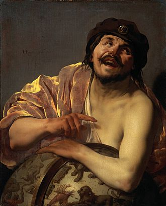 Philosophy of happiness - Democritus by Hendrick ter Brugghen, 1628.  Democritus is known as the 'laughing philosopher' because of his emphasis on the value of 'cheerfulness.'