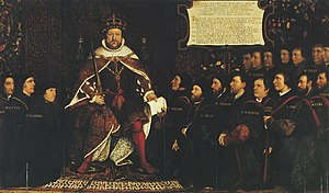 Worshipful Company of Barbers - Painting by Hans Holbein the Younger of Henry VIII presenting the Barber-Surgeons' Company Charter to the first Master, Thomas Vicary