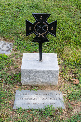 Henry Wirz - Wirz's grave marker at Mount Olivet Cemetery, denoting him as a hero and a martyr