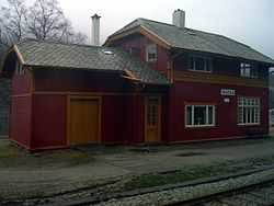View of the historic railway station in Heskestad