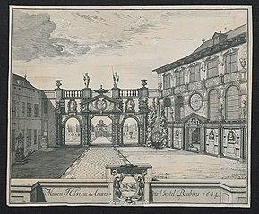 Het Rubenshuis (of Maison Hilwerve) te Antwerpen in 1684