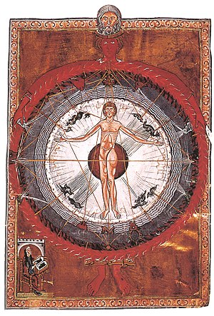 "Hildegard of Bingen - ""Universal Man"" illumination from Hildegard's Liber Divinorum Operum, I.2. Lucca, MS 1942, early 13th-century copy."
