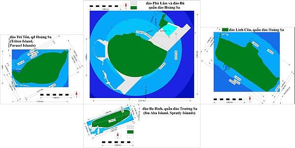 So sánh quy mô diện tích tự nhiên các đảo lớn loại nhất của 2 quần đảo  Hoàng Sa và Trường Sa trên biển Đông.