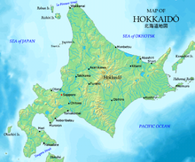 Una mappa di Hokkaido.