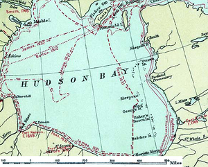 Hudson Bay - Canada, Routes of Explorers, 1497 to 1905