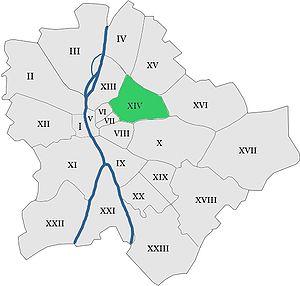 Zugló - Location of Zugló in Budapest