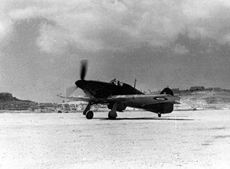 RAF Ta Kali -  A Hawker Hurricane of 261 Squadron at RAF Ta Kali in 1941.