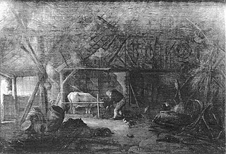 Barn interior with two peasants and a cow