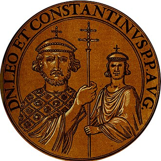 Leo IV the Khazar - Illustration of Leo IV (left) and his son Constantine VI (right), based upon Byzantine coins minted bearing their images