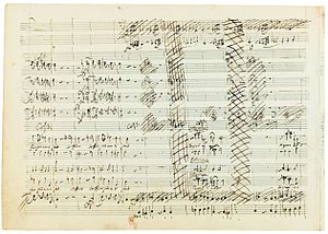 Idomeneo - A page from Mozart's original score for Idomeneo, showing cancellations