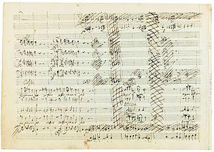 Idomeneo - A page from Mozart's original score for Idomeneo, showing cancellations