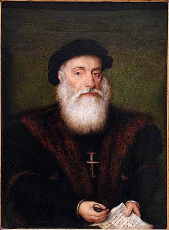The Portuguese explorer Vasco Da Gama unlocked the sea route from Europe to India (1497-1499). Ignoto portoghese, ritratto di un cavaliere dell'ordine di cristo, 1525-50 ca. 02.jpg