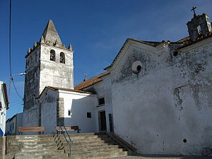 Torrão - The 17th century belltower of the Church of Our Lady of the Assumption, south facade and belltower