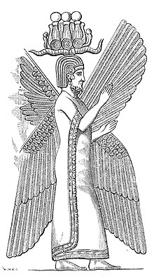 A line-drawing of Cyrus with ornate headgear