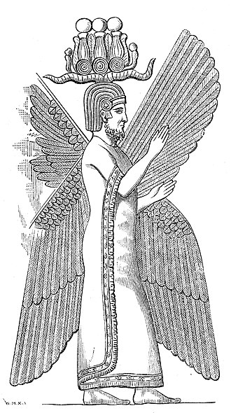Cyrus the Great - Cyrus the Great with a Hemhem crown, or four-winged Cherub tutelary divinity, from a relief in the residence of Cyrus in Pasagardae.