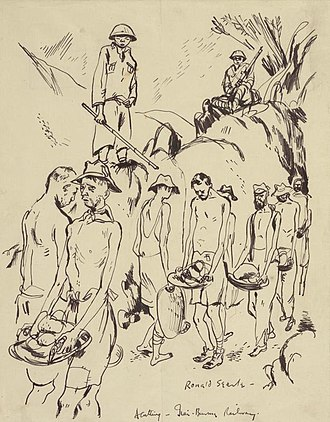 Ronald Searle - In the Jungle - Working on a Cutting. Rock Clearing after Blasting, 1943