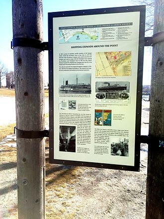 India Point Park - A sign in India Point Park tells the story of the steamships