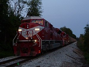 Indiana Rail Road - An Indiana Rail Road train in Bloomington, on the line coming from Morgantown