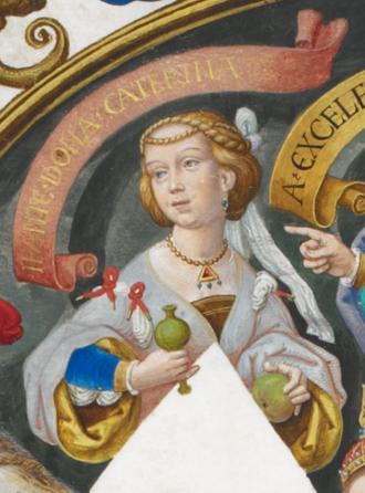 Catherine of Portugal (nun) - Infanta Catarina in Genealogia dos Reis de Portugal (António de Holanda; 1530-1534)