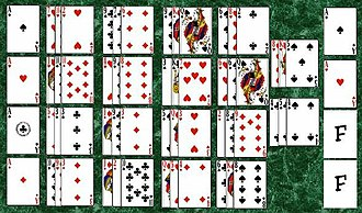 """Intelligence (solitaire) - The initial layout in the game of Intelligence. Notice that during dealing, aces are separated are placed in the foundations, marked """"F"""" in this diagram."""