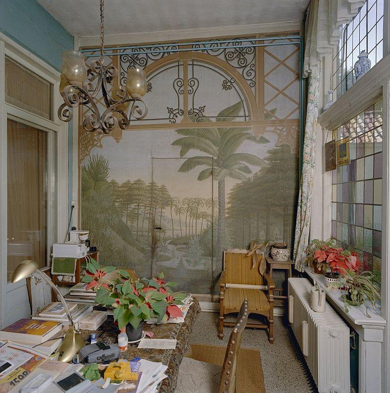 interieur serre met beschilderde wandbespanning vught 20346447 rce
