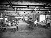 Interior of De Havilland aircraft factory, Rongotai, Wellington, 1939 or 1940