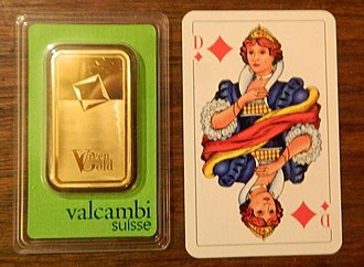 Gold as an investment - Size of a 100 gram gold bar, size compared to a playing card. The plastic package is not to be opened. If opened, the bar may have to be re-melted after selling it back, which affects its value a little. Thickness is around 3-4 mm only. It is notably heavier than one might expect for such a small piece of metal.